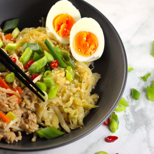 Keto Chow Mein Bowls with Chicken & Egg