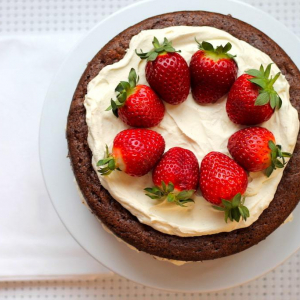 Keto Chocolate Sponge Cake with Strawberries and Cream