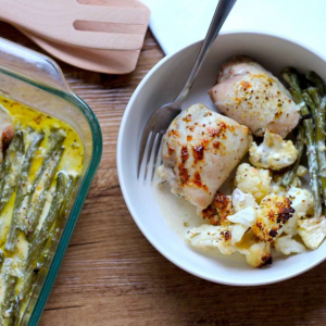 Keto Creamy Mustard Chicken One Tray Bake