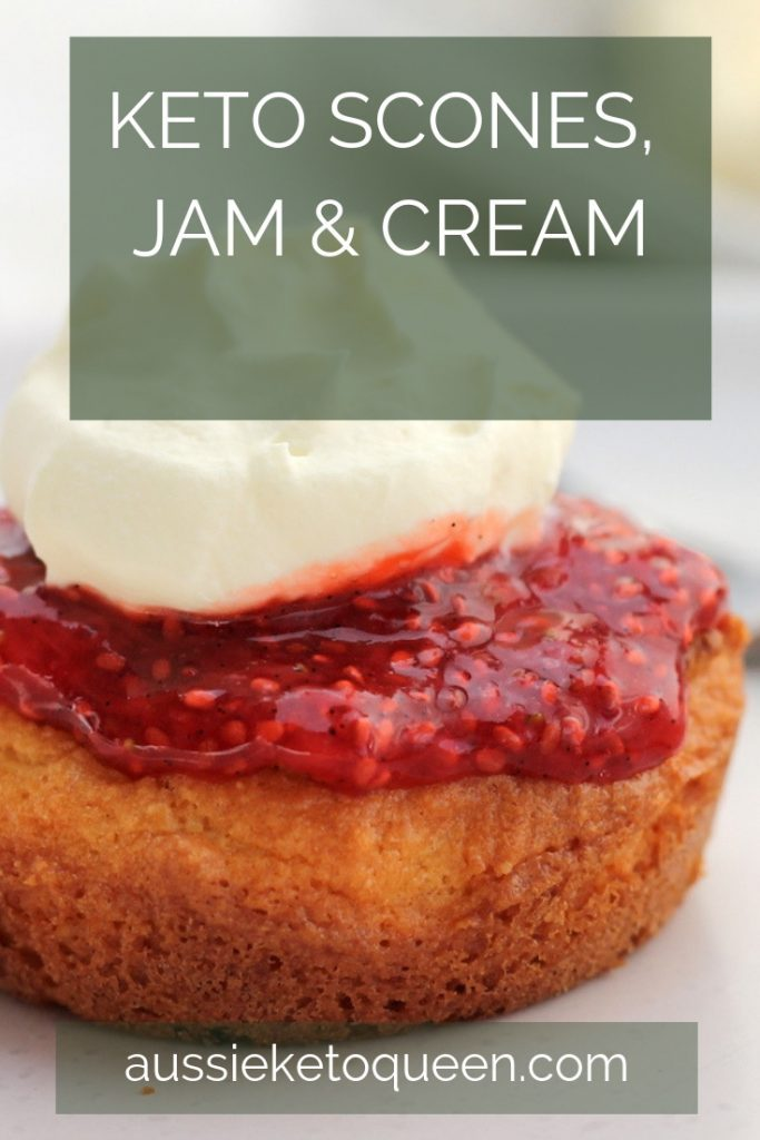 Keto scones are perfect for any occasion and are lovingly served with Keto Strawberry Jam and Whipped cream. Enjoy! #keto #easyketo #lazyketo #ketosnacks
