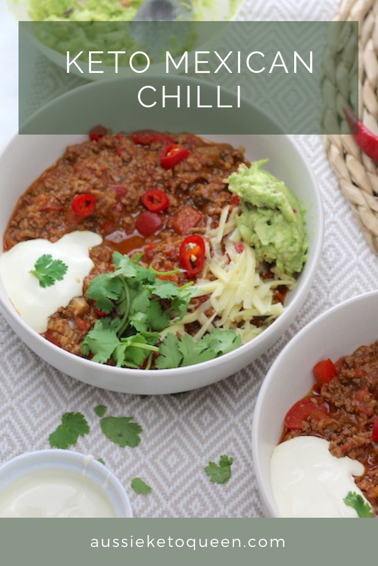 Keto Chilli is perfect in the slow cooker or stove top. An easy Keto weeknight meal and great to cook in bulk for lunches throughout the week! Simple, delicious Keto Mexican. #keto #ketogenicdiet #ketorecipe