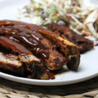 These Keto Ribs are so easy to prepare in the slow cooker giving succulent, fall off the bone meat. Finished with the pan juices as a smokey BBQ Sauce, these are finger licking good keto ribs!