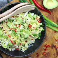 Keto Chinese salad is a delicious combination of tangy, sweet and spicy flavours, making this Cabbage Salad the perfect keto side dish or BBQ accompaniment! #ketosalad #ketogenicrecipes #ketodiet