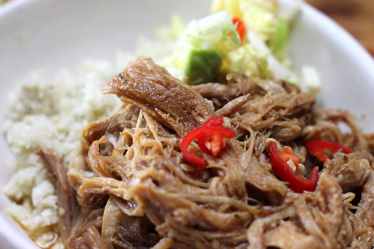 Keto Chinese Pulled Pork is a super easy, simple dish that gives BIG chinese flavours without the sugar! Slow cooker / crock pot cooking is the best for this easy Keto Pulled Pork recipe. #easyketo #ketorecipes #ketogenicrecipe