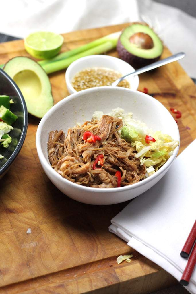 Keto Chinese Pulled Pork is a super easy, simple dish that gives BIG chinese flavours without the sugar! Slow cooker / crock pot cooking is the best for this easy Keto Pulled Pork recipe. Goes perfectly with Keto Chinese Cabbage salad #easyketo #ketorecipes #ketogenicrecipe