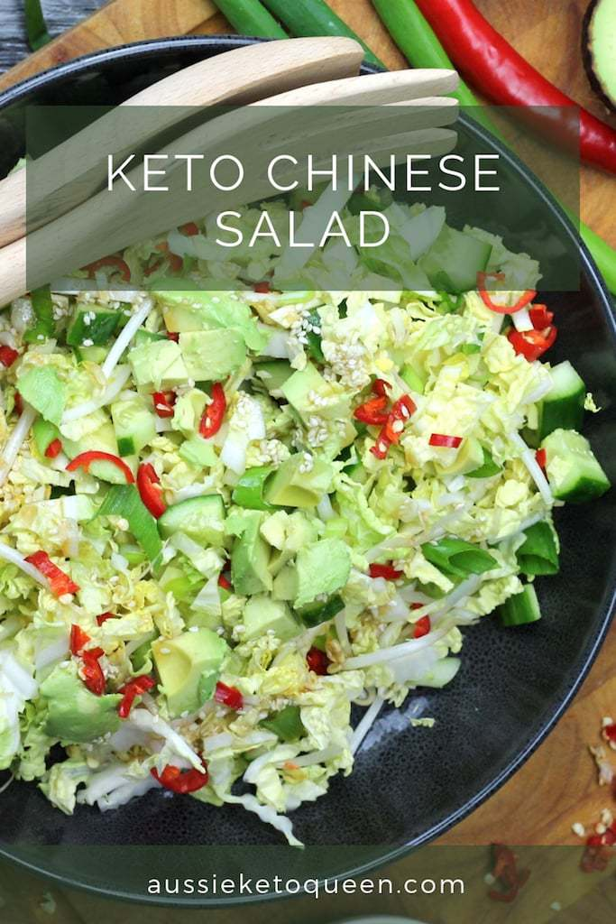 Keto Chinese Cabbage salad is a delicious combination of tangy, sweet and spicy flavours, making this Cabbage Salad the perfect keto side dish or BBQ accompaniment! #ketosalad #ketogenicrecipes #ketodiet