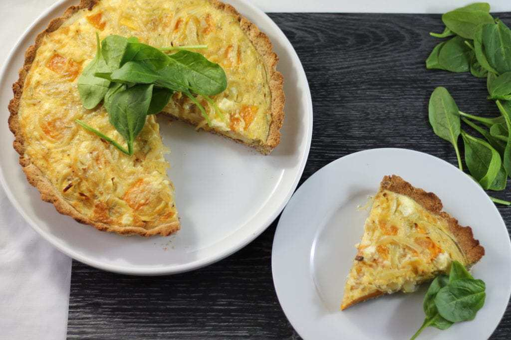 Keto roast pumpkin and feta tart by Aussie Keto Queen. This tasty roast pumpkin and feta tart is full of flavour and is the perfect meal alongside a simple salad.