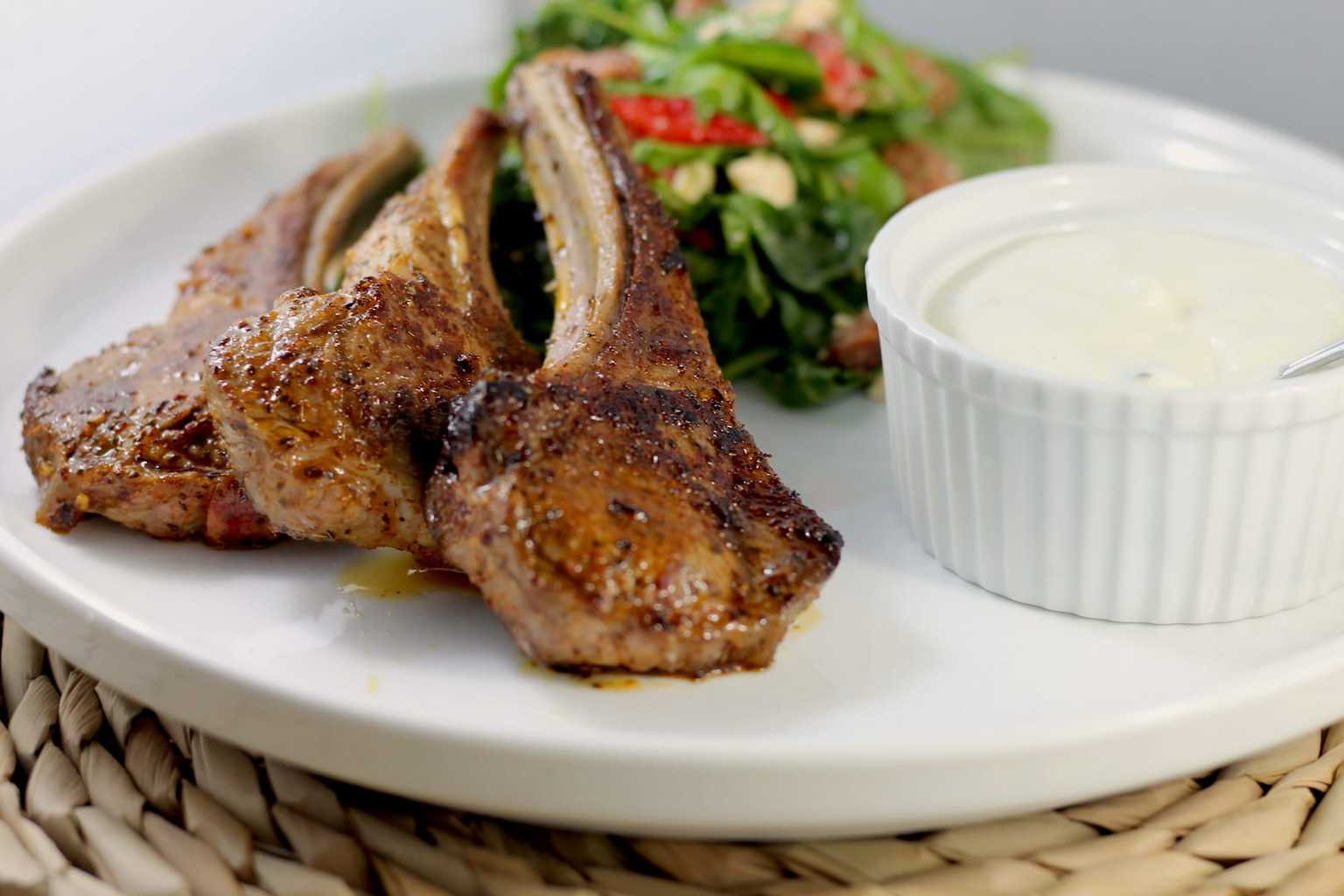 Keto Lamb Cutlets with Harissa Spice and Tzatziki