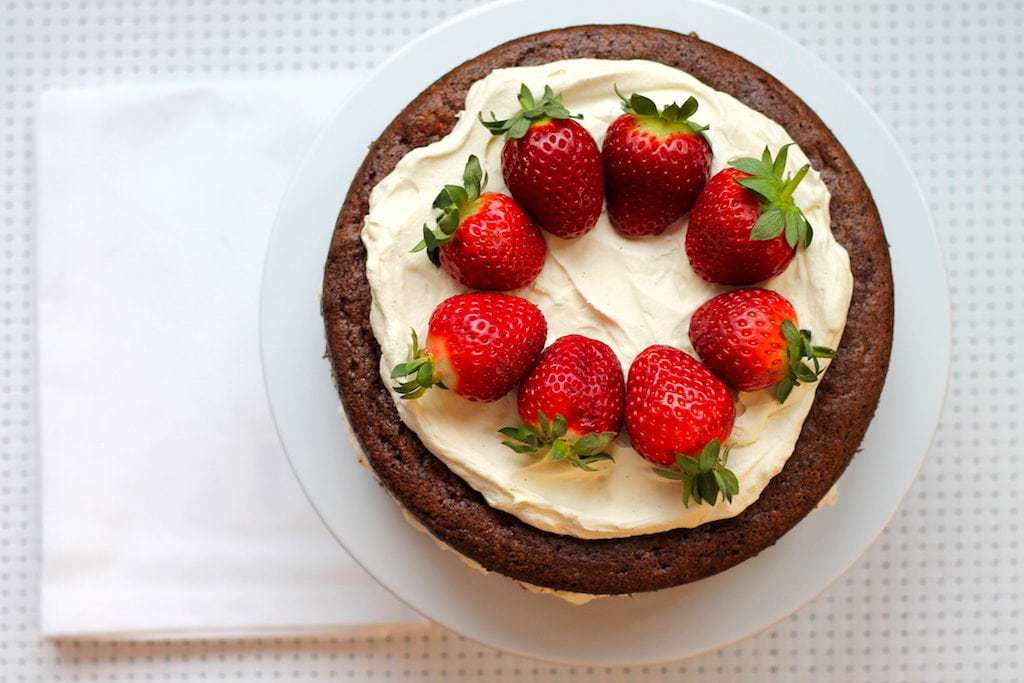 Keto Chocolate Sponge Cake with Strawberries and Cream by Aussie Keto Queen. This cake is a little bit of effort, but well worth it. Perfect to impress your keto or non-keto friends alike!#keto #ketodessert #ketorecipes