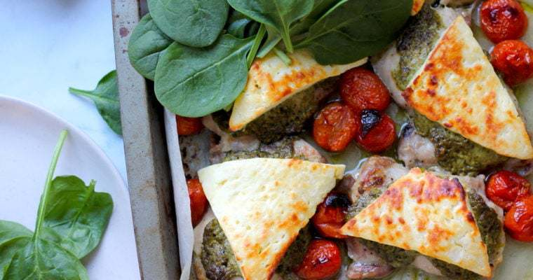 Keto Pesto Chicken Bake with Haloumi