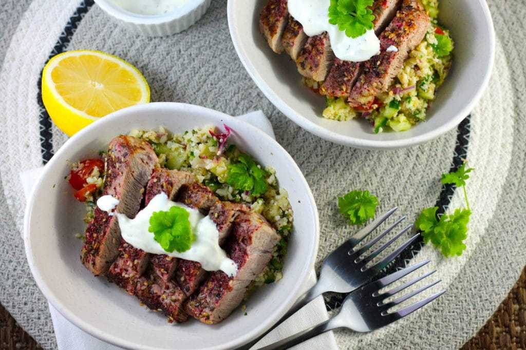 Keto Pork Steak with Zaatar by Aussie Keto Queen. Zaatar is a fantastic middle eastern spice with a base of sumac that goes so well with this tasty recipe for a Keto Pork Steak. These tasty Keto Pork Steaks use Zaatar seasoning to create an interesting Middle Eastern flavour profile. Perfectly served with Keto Tabouleh and minted yoghurt #ketosteak #steaklover #ketodiet #keto