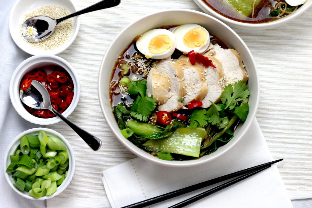 Keto Chicken Ramen Noodles by Aussie Keto Queen is a great broth based dinner, easy to prepare for weeknight Keto meals and loaded with flavour. Entertain a Keto crowd with ease! #keto #ketodinner #easyketo #japaneseketo