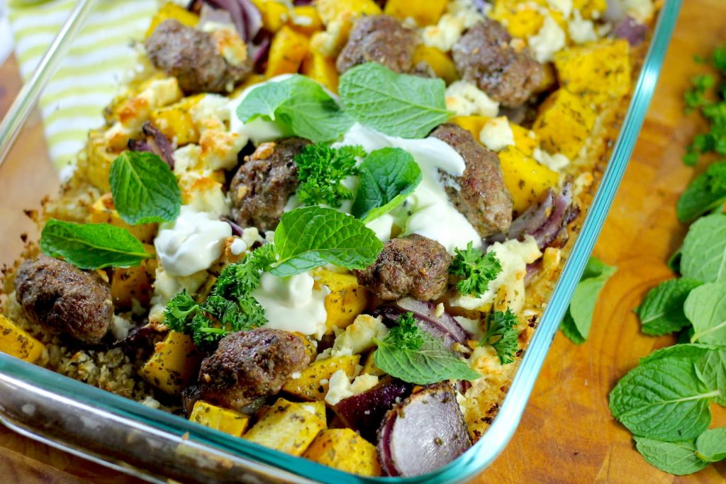Oven Baked Keto Lamb Koftas, Pumpkin & Cous Cous by Aussie Keto Queen. Keto Kofta Pumpkin Cous cous, keto oven baked, Keto Lamb koftas These Keto Lamb Koftas fit the bill, and use cubes of pumpkin and a cauliflower cous cous base to carry the delicious middle eastern flavours all the way through.