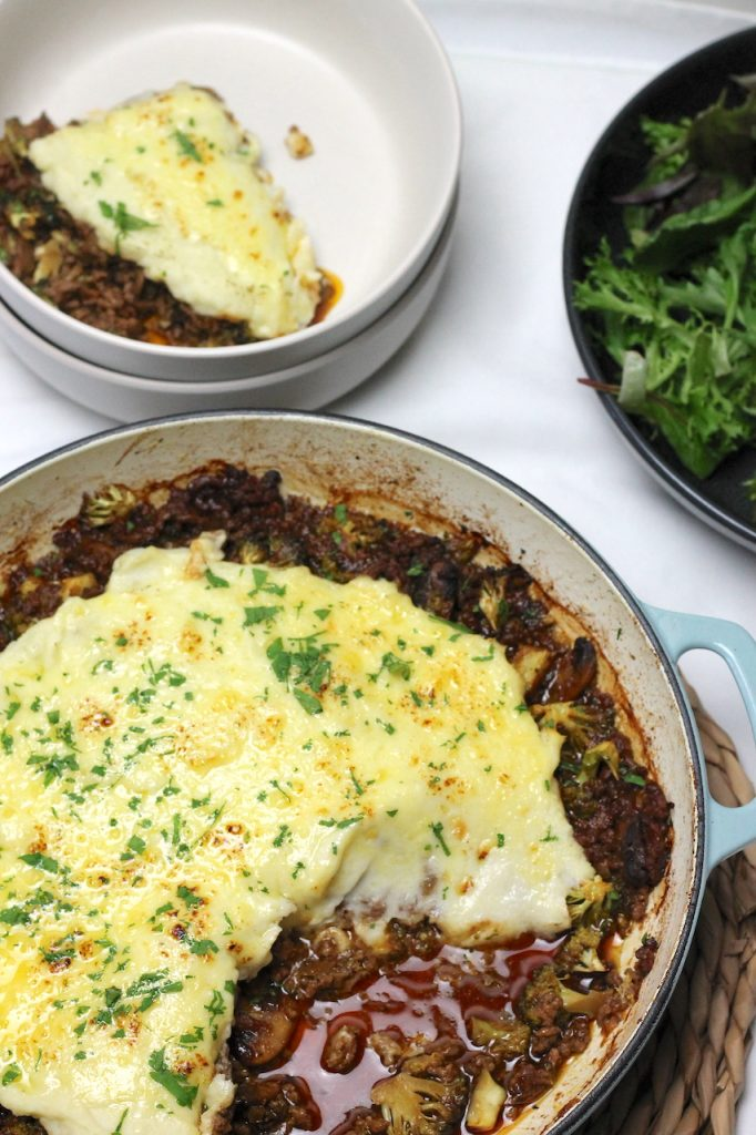 Keto Shepherds Pie is one of those 'easier than you think' but totally worth it classic dishes. Its full of comforting flavours and topped with fluffy cauliflower mash and plenty of melted cheese, making it the perfect weeknight meal.