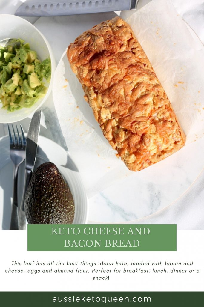 Keto Cheese and Bacon Bread  by Rachel Burke Aussie Keto Queen. This loaf has all the best things about keto, loaded with bacon and cheese, eggs and almond flour. Tasty keto cheese and bacon bread is so easy to make, and is a perfect keto snack, breakfast on the go and is freezer friendly. One of the most easy Keto meals you can try! #keto #ketogenic