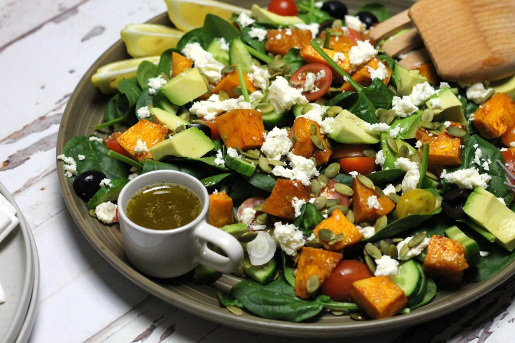 Keto Pumpkin and Feta Salad by Aussie Keto Queen Roast pumpkin ahead for a side salad that comes together in minutes.Healthy keto salad This Keto Pumpkin and Feta Salad  is a really heavenly Keto salad, bound to impress whoever you put it in front of. The sweetness from the pumpkin really compliments the savoury Greek flavours in the chicken and halloumi marinade, so is a match made in heaven!