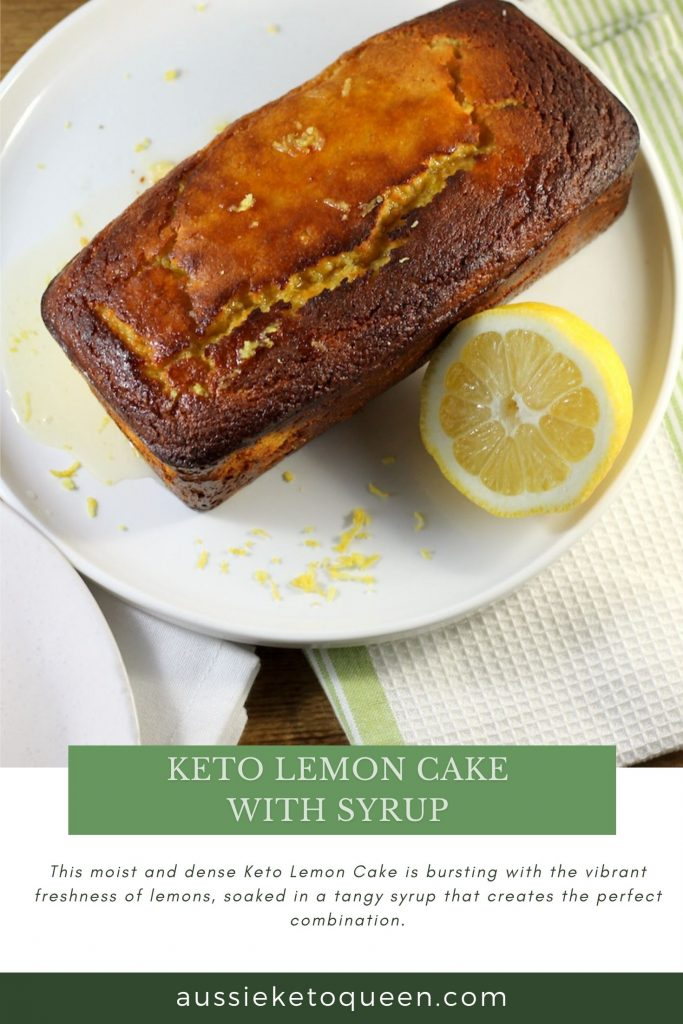 Keto Lemon Cake with Syrup by Aussie Keto Queen. This moist and dense Keto Lemon Cake is bursting with the vibrant freshness of lemons, soaked in a tangy syrup that creates the perfect combination and making it Keto heaven.