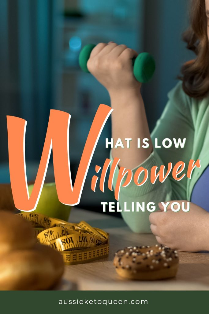 Why Willpower Isn't Enough to Stick With Keto - Plus Strategies To Make It Stick - What is low willpower telling you? - Fat lady exercising with dumbbell and looking at sweet donut, dieting willpower