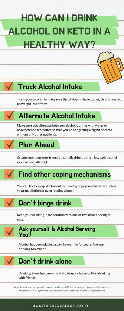 Can you drink Alcohol on Keto diet? If you're on the keto diet, then chances are you've been wondering if alcohol is good for your diet. Woman sitting with a glass of alcohol on the table.  How Can I Drink on Keto In A Healthy Way? Track Alcohol Intake. Alternate Alcohol Intake. Plan Ahead. Find other coping mechanisms. Don't binge drink. Set a limit to your consumption.Is Alcohol Serving You