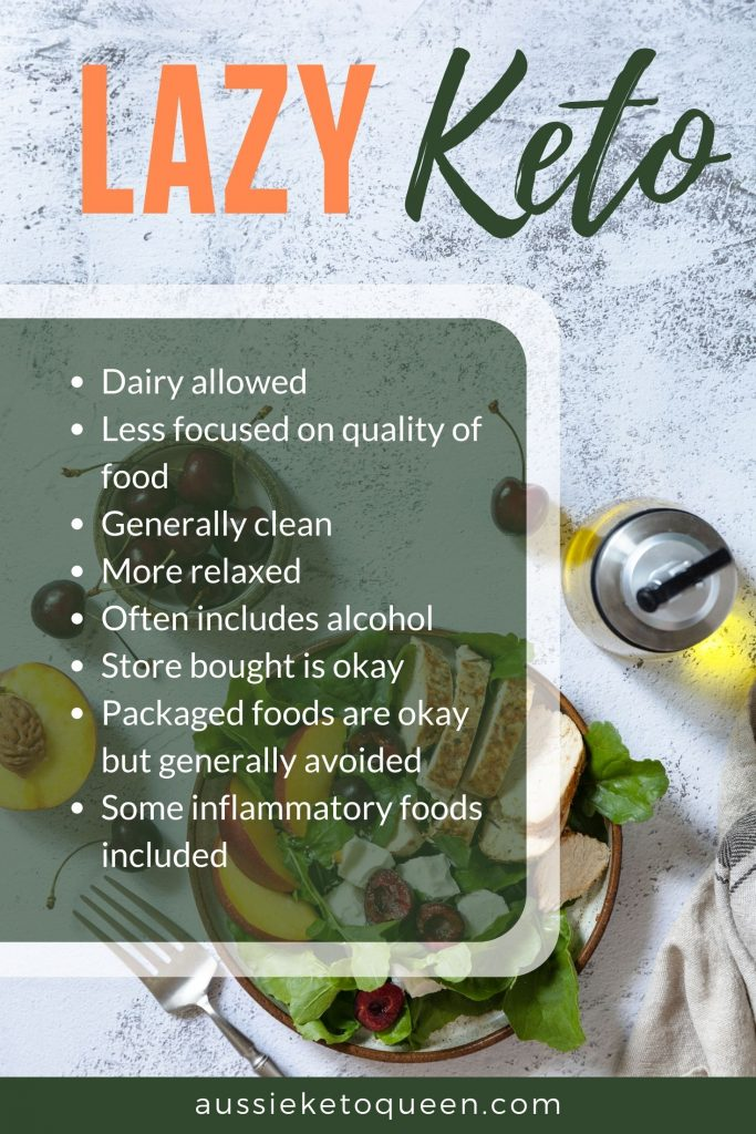 LAZY KETO - Dairy allowed Less focused on quality of food Generally clean More relaxed Often includes alcohol Store bought is okay Packaged foods are okay but generally avoided Some inflammatory foods included