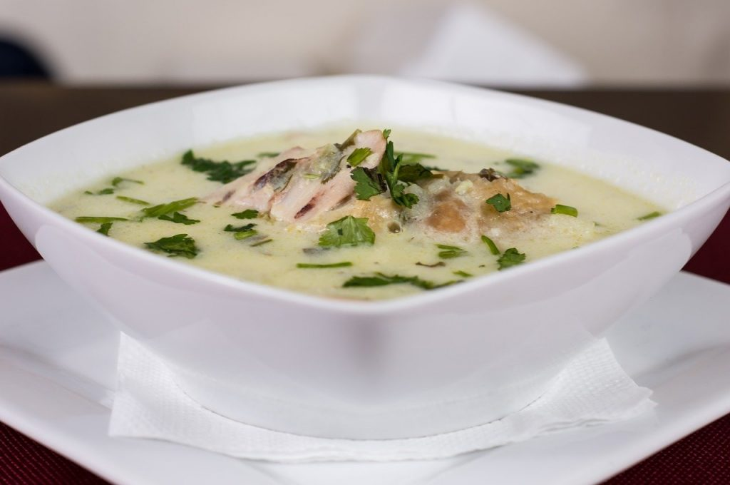 A warming bowl of Chicken soup, showing the benefits of Bone broth on Keto. Chicken Bone Broth is delicious and a cornerstone of optimal health on the Keto diet